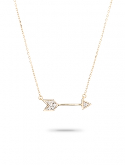 PAVE DIAMOND ARROW ON 14K GOLD CHAIN