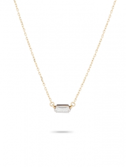 SINGLE BAGUETTE DIAMOND ON 14K GOLD CHAIN