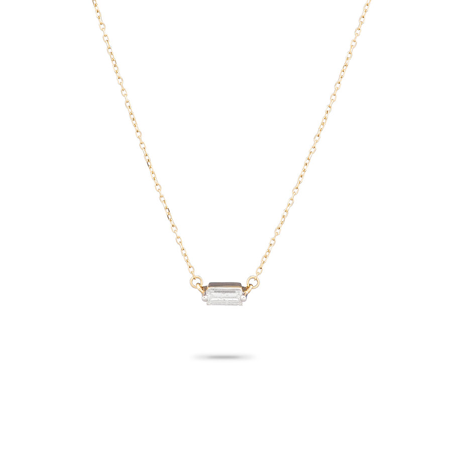 SINGLE BAGUETTE DIAMOND ON 14K GOLD CHAIN