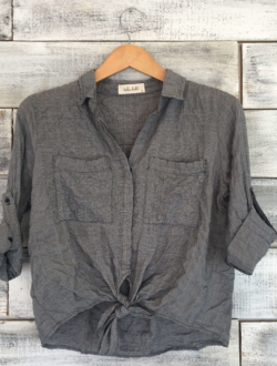 TIE FRONT POCKET SHIRT
