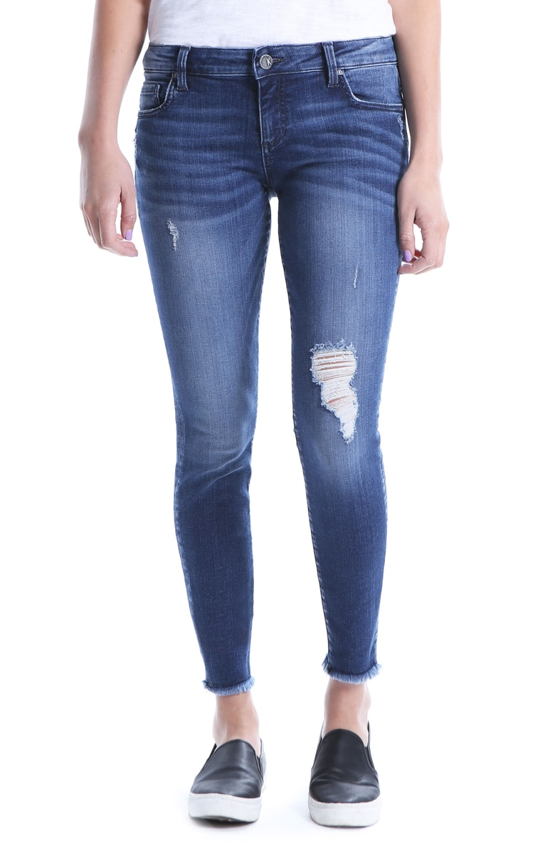 KUT CONNIE SLIM FIT ANKLE SKINNY WITH FRAY HEM