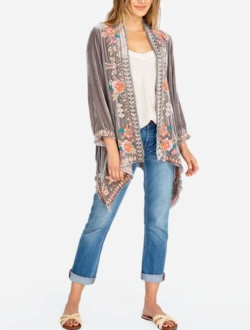 MAEVE VELVET DRAPED CARDIGAN | JOHNNY WAS