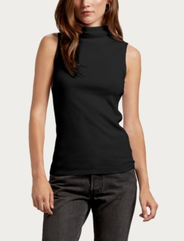 BLACK RIBBED TURTLENECK TANK | MICHAEL STARS