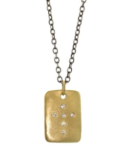 GOLD SHIELD AND DIAMOND CROSS NECKLACE