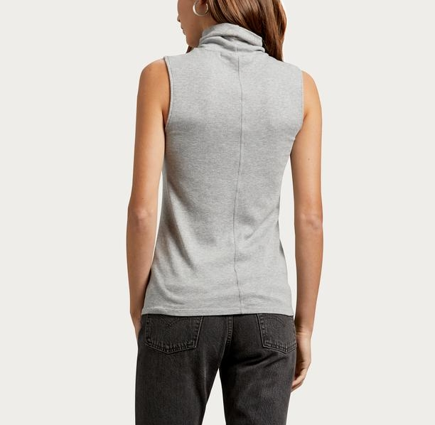 GREY RIBBED TURTLENECK TANK | MICHAEL sTAR