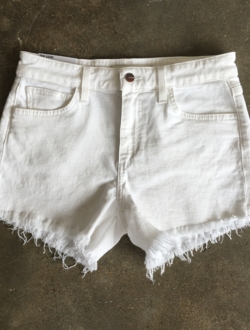 WHITE CUTOFF SHORTS