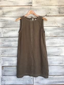GREEN LINEN SHIFT DRESS