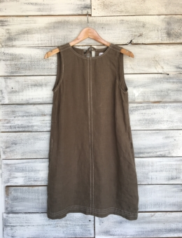 GREEN LINEN SHIFT DRESS