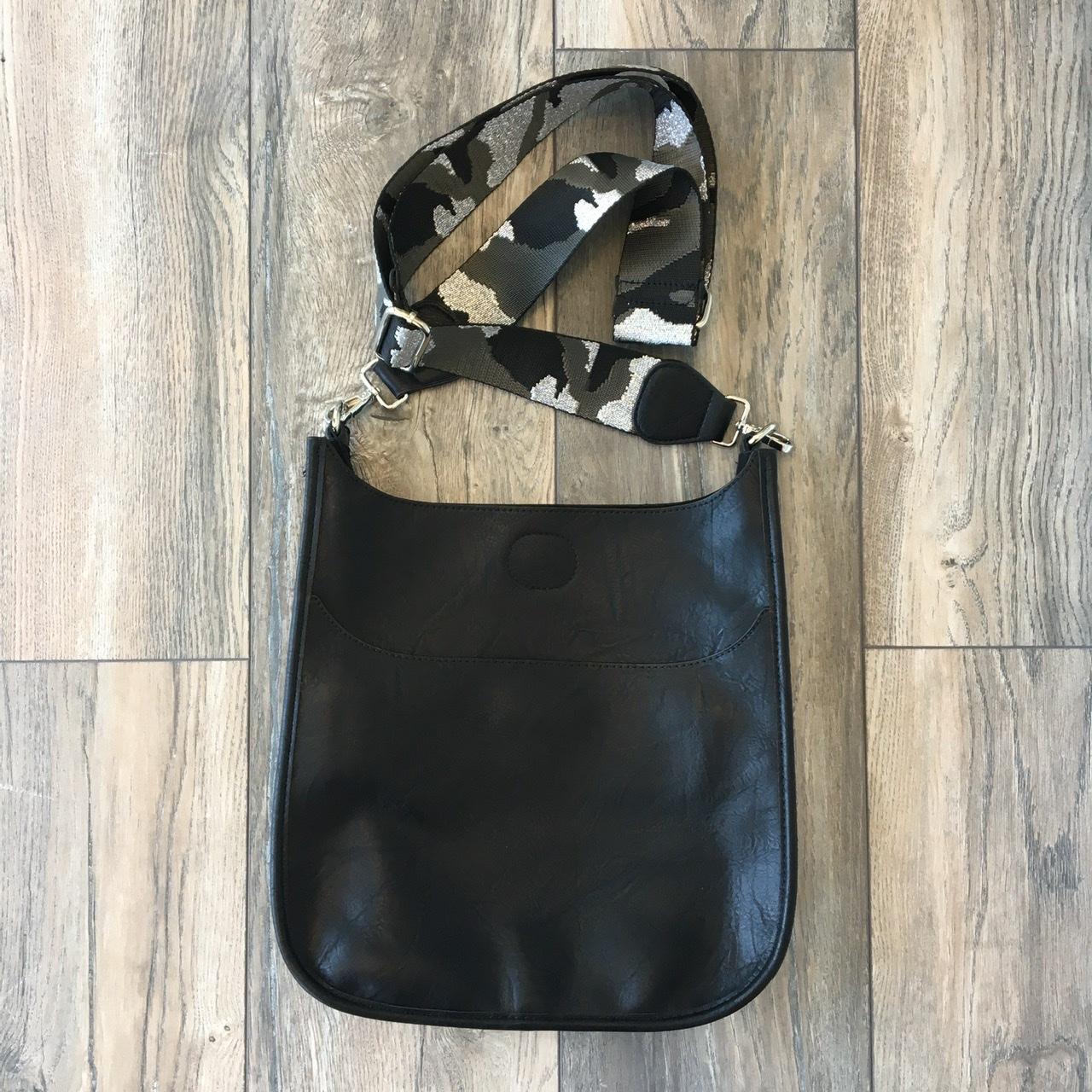 VEGAN LEATHER MESSENGER BAG WITH ADJUSTABLE GUITAR STRAP