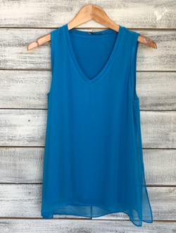 ELECTRIC BLUE CHIFFON V-NECK TANK