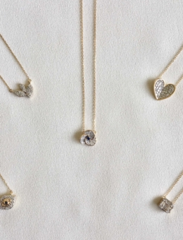 TINY DIAMOND + SAPPHIRE PETALS NECKLACE