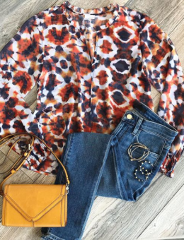 ORANGE & NAVY PORTMAN BLOUSE