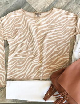 ANIMAL PRINT V-NECK SWEATER