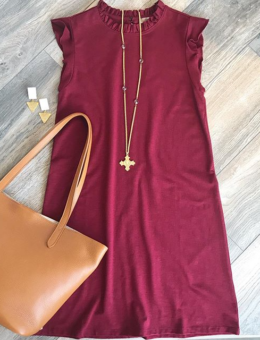 WINE RUFFLE NECK DRESS