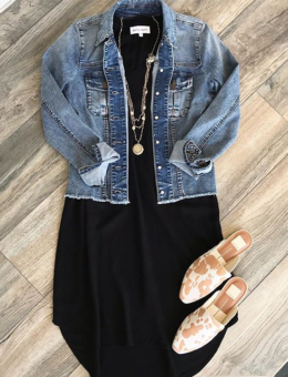 BLACK V-NECK TEE DRESS