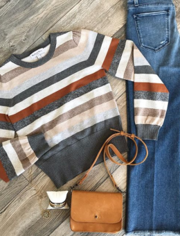 HAZELNUT STRIPE SWEATER