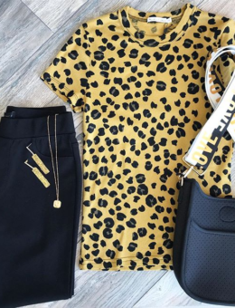 OCHRE SHINE ANIMAL PRINT TEE