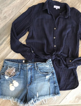 NAVY GAUZE BUTTON DOWN