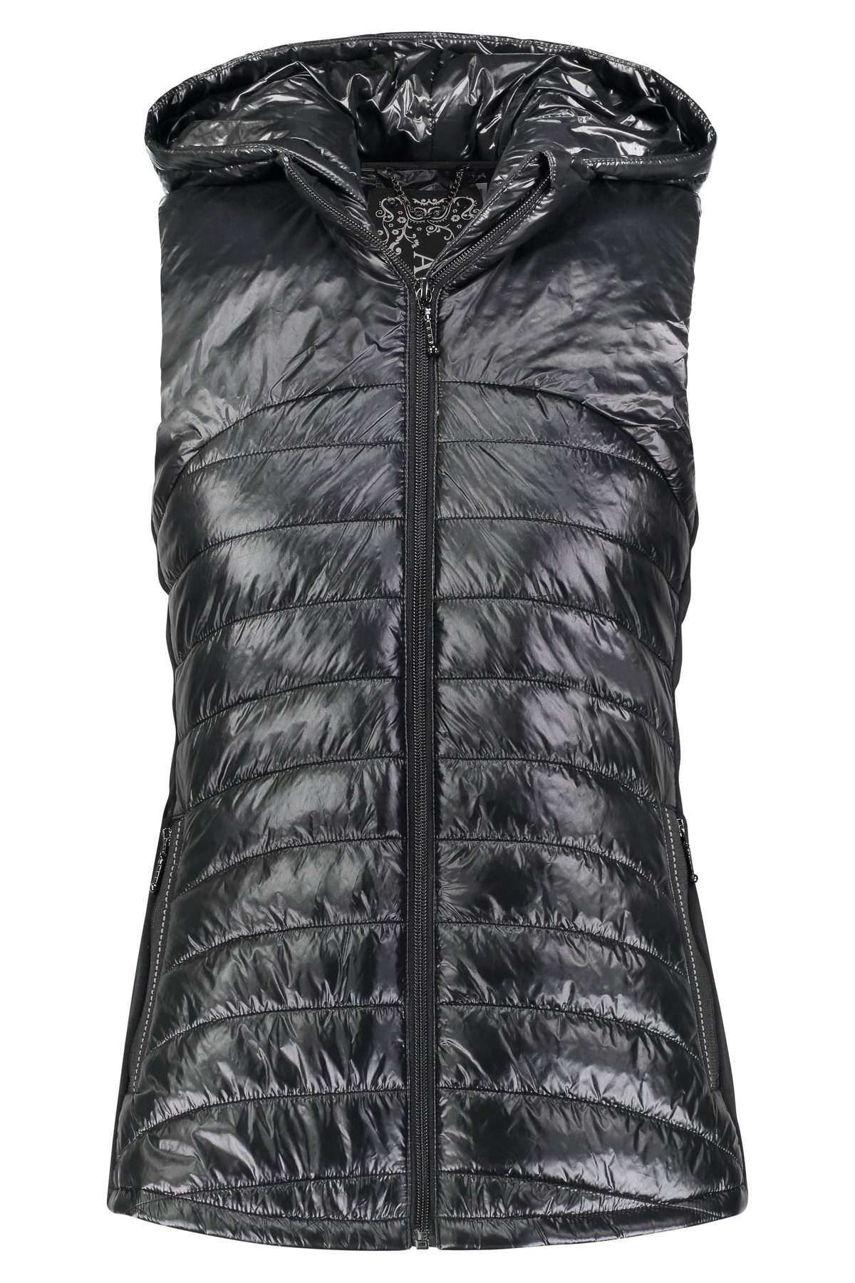 BLACK HOODED DOWN VEST