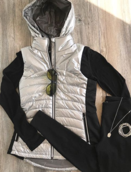 SILVER HOODED DOWN VEST