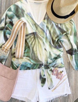 PALM PRINTED CHIFFON V-NECK TOP